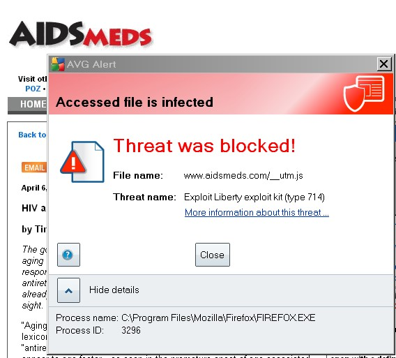 aidsmeds.com tries to infect me with a (computer) virus